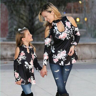Family Tops Matching Outfits Floral Mother Mom Daughter Girls Long Sleeve Pull