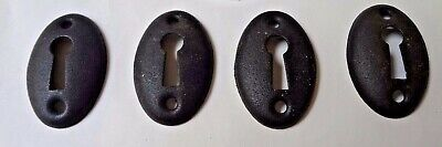 Vintage Old Stock Key Hole Escutcheons Oval Pressed Iron/Steel Lot of Four