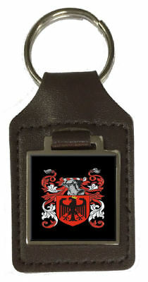 Wheeldon Family Crest Surname Coat Of Arms Brown Leather Keyring Engraved