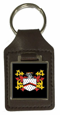 Duggar Family Crest Surname Coat Of Arms Brown Leather Keyring Engraved