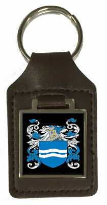Mcbraire Family Crest Surname Coat Of Arms Brown Leather Keyring Engraved