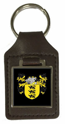 Carew Heraldry Coat Of Arms Brown Leather Keyring Engraved
