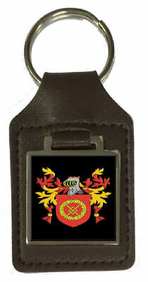 Scarrott Family Crest Surname Coat Of Arms Brown Leather Keyring Engraved