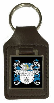 Comane Family Crest Surname Coat Of Arms Brown Leather Keyring Engraved