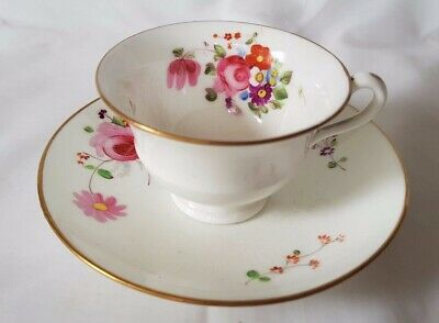 early to mid 19TH CENTURY FINE PORCELAIN FLORAL DESIGN CUP AND SAUCER