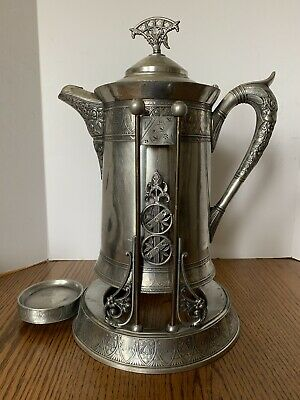 Antique Victorian Silver-plated TILTED WATER PITCHER With STAND