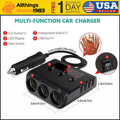 12V/24V 3 Sockets 4 USB Car Charger Adapter DC Outlet Cigarette Lighter Splitter