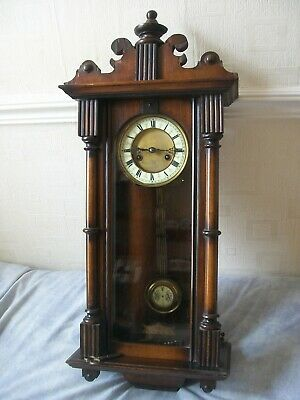 Antique Mahogany Vienna Wall Clock. Working with Key. Pediment needs attention