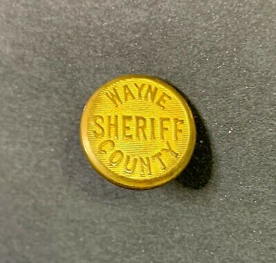 Antique Wayne County (Michigan) Sheriff Brass Button - Excellent Condition