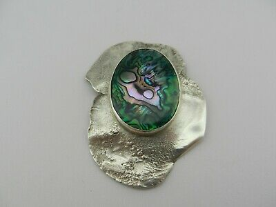 Beautiful Individuals Signed Sterling Silver Abalone Shell Brooch Pin