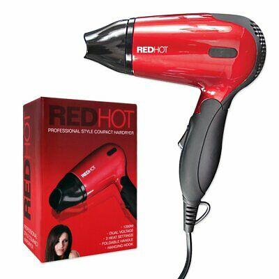 Red Hot  Compact 1200W Travel Hair Dryer with Folding Handle Dual Voltage