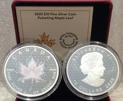 2020 PML Pulsating Maple Leaf $10 2OZ Pure Silver Proof Coin Canada