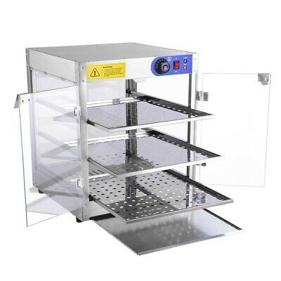 Food Warmer Commercial 3 Tier Pizza Pie Cabinet Display Case Showcase 51x51x61cm