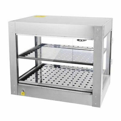 2 Tier Commercial 61x49x38cm Countertop Food Pizza Warmer Cabinet Display VAT
