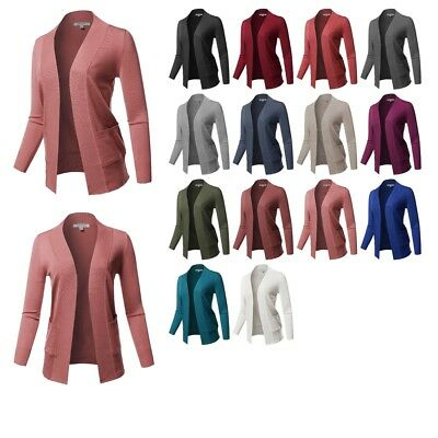 FashionOutfit Women's Basic Long Sleeve Open Front Ribbed Viscose Knit Cardigan