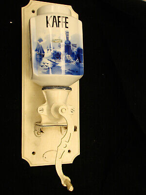 Dutch Delft Windmill Wall Mounted Coffee Grinder White/Blue
