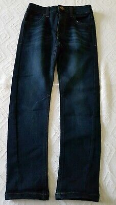 Boys George Straight Leg Navy Blue Denim Jeans Size 6-7 Years Adjustable Waist