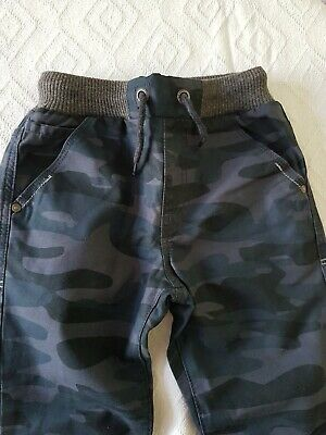 BNWOT George Camouflage Trousers Boys Blue 7-8  Years Elasticated Waist