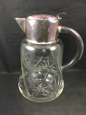 Vintage Cut Glass Wine Cooler Pitcher with Silverplate Top Spout