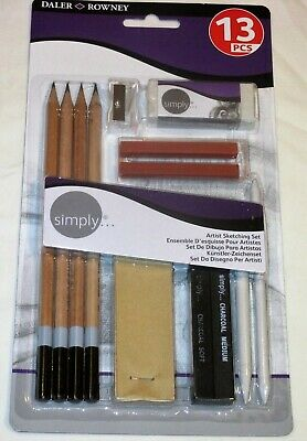 New Dixon DALER-ROWNEY 13 pc Simply ARTIST SKETCHING PENCIL Pastel Charcoal SET