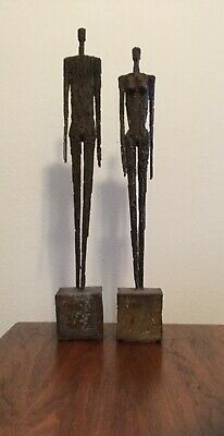 Mid Century Modern Brutalist Large Bronze Sculptures Abstract Giacometti Style