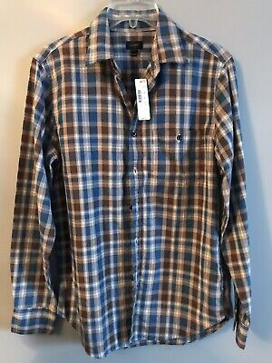 J Crew Mens Cotton Plaid Shirt Long Sleeve Brown Blue Size S Nwt $69.50