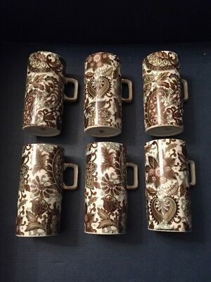 Set of 6 Tall Demitasse Cups - JAPAN - Paisley-Like Brown Pattern