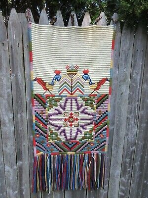 """Large Vintage hand woven retro wall hanging fiber art Birds crown 21"""" by 50"""""""