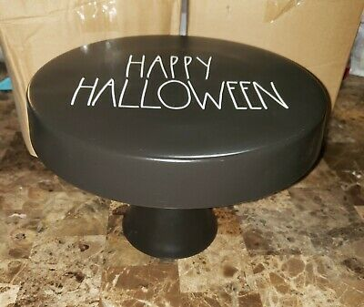 Brand New 2019 Rae Dunn Black HAPPY HALLOWEEN cake Stand By Magenta RARE NEW