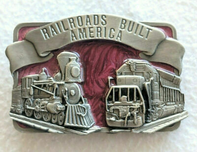 Vtg 1984 RAILROADS BUILT AMERICA Resin Raised Siskiyou Belt Buckle P-29