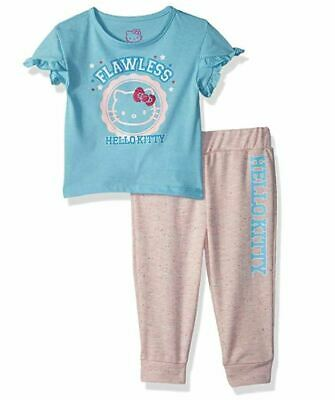 Hello Kitty Baby Girls' Jogger Pant Set with Fashion Top, Blue, 12M