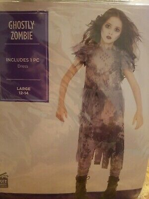 Ghostly Zombie Dress Girls Large 12-14 Costume by Suit Yourself #420