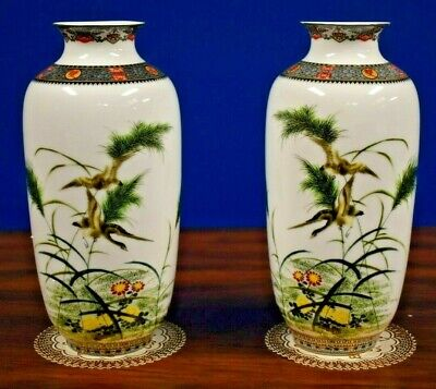 """Matched Pair Of 10"""" Chinese  Porcelain Vases-Asian Oriental Japan Cloisonne"""