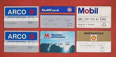 Vintage Lot of 12 GAS STATION CREDIT CARDS Arco,Mobil,Sunoco,Union 76 + UNSIGNED