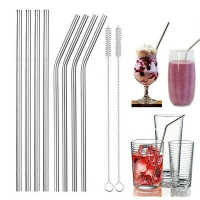 10pc Reusable Metal Drinking Straw Stainless Steel Smoothies Straw with Bag Gold