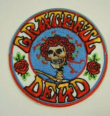 """Grateful Dead - Skull & Roses Embroidered Iron-On Patch 3"""""""
