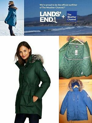 """$239 NWT LANDS END /""""Weather Channel/""""  2X  Hooded Stretch Long Black Down Coat"""