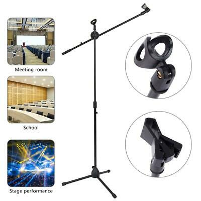 New Glarry Adjustable Folding Tripod Boom Microphone Mic Stand Black