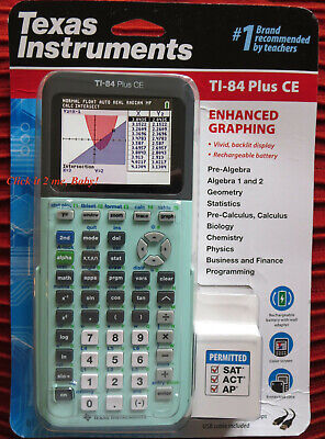 MINT GREEN! TI-84 Plus CE LATEST! Graphing Calculator Silver Edition  Compatible