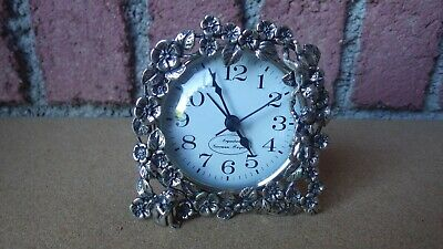 Giovanni Raspini Argenterie 800 Silver Desk Clock Flowers Putti 178.8 Grams