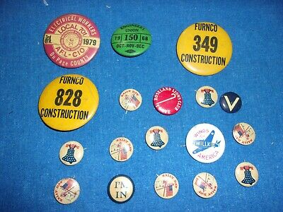 18 Antique Or Vintage Union Election Pin Back Button Buttons Collection Lot