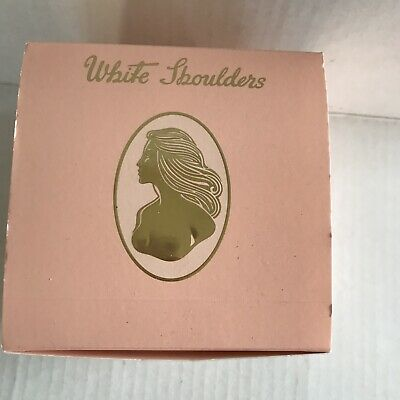 Vintage WHITE SHOULDERS 10 Oz Dusting Powder Cameo Box & Puff - New in Box
