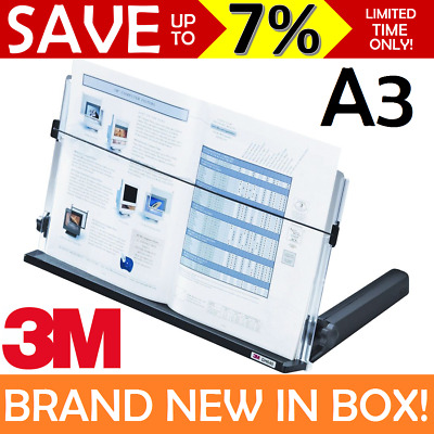 NEW IN BOX 3M Document Copy Holder Desk Stand A3 A4 Adjustable 330 Sheets DH640