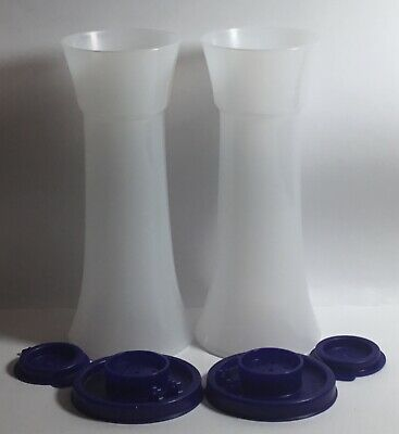 Tupperware Large Hourglass Salt & Pepper Shakers blue lids