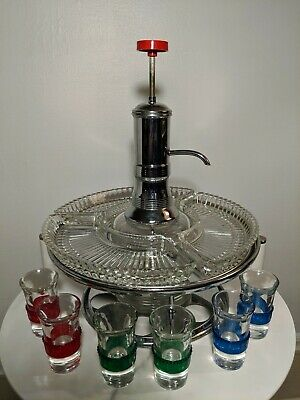 Vintage Mid Century Liquor Dispenser With Shot Glasses and Condiment trays