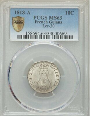French Guiana 1818 A 10 Centimes PCGS MS63 - Platinum toning !