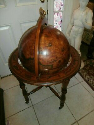 Antique /Vintage Italian Portable Zodiac Bar Cart Globe Made By Lions Co.1/1