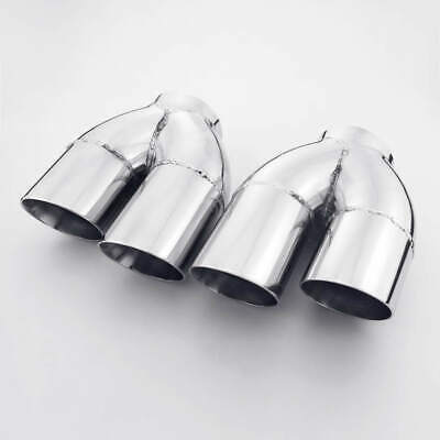"""Pair Offset 2.5/"""" In Quad Staggered 4/"""" Angle Cut Out Exhaust Tips Stainless Steel"""