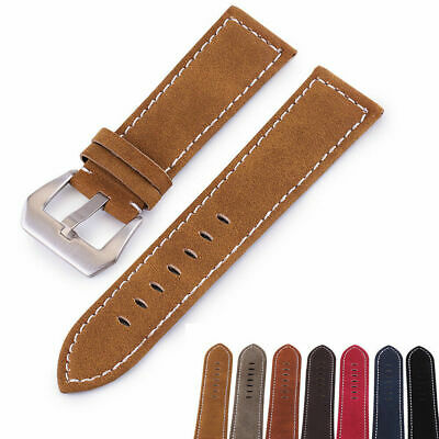 18-24mm Nubuck Leather Watch Strap Steel Buckle Unisex Replacement Wrist Band