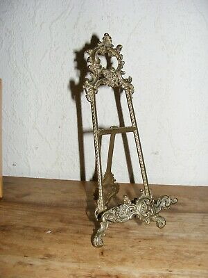 SMALL BRASS EASEL DECORATIVE ORNAMENTAL DISPLAY STAND APX 24cm TALL